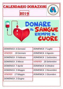 Calendario delle donazioni 2019 presso AVIS Campagnano