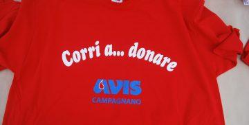 """La maglietta della camminata """"Corri a... donare"""" organizzata da AVIS Campagnano nel corso della Campagnano Vallelunga Race 2018"""
