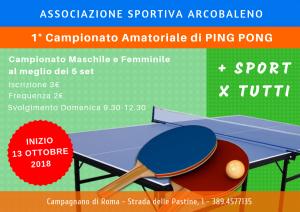 Torneo di Ping Pong organizzato da ASD Arcobaleno a Campagnano di Roma