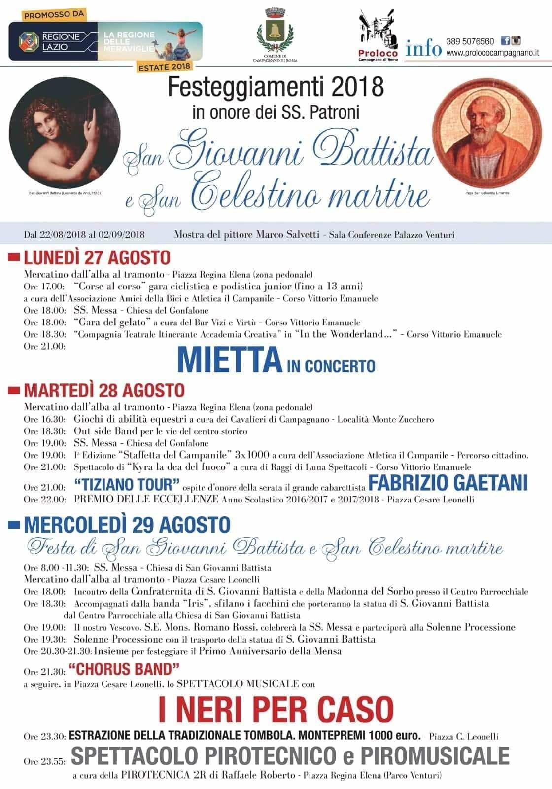 Programma della Festa dei Patroni di Campagnano di Roma 2018