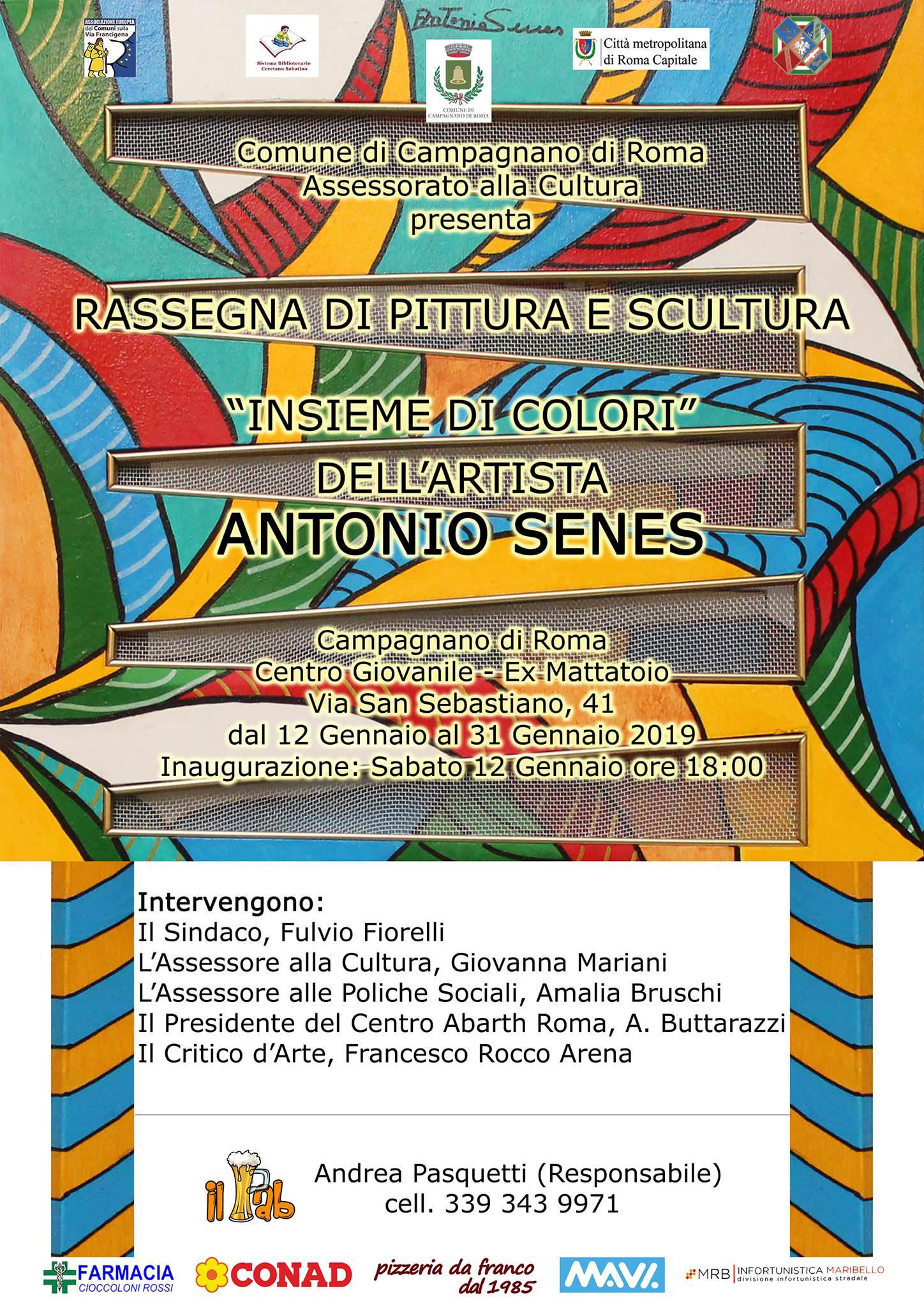 Locandina della mostra di pittura e scultura di Antonio Senes a Campagnano di Roma