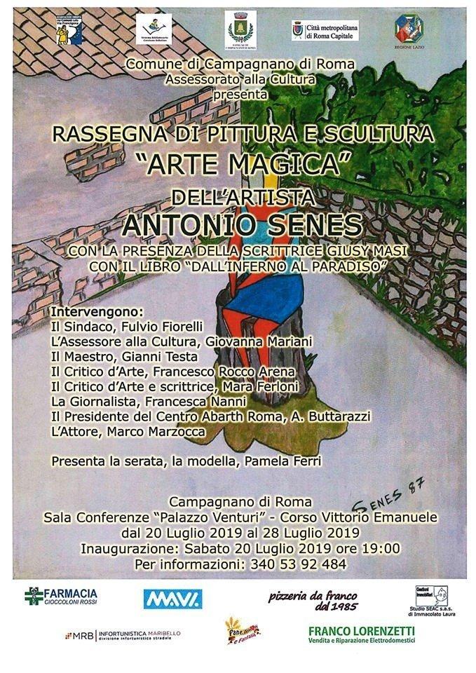 Locandina mostra di pittura di Antonio Senes a Campagnano di Roma, luglio 2019