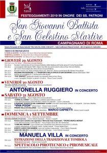 Programma della Festa dei SS.Patroni di Campagnano di Roma 2019