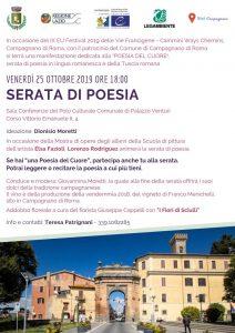 Locandina della Serata di Poesia del 25 ottobre 2019 a Campagnano di Roma