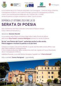 Locandina della Serata di poesia a Campagnano il 27 ottobre 2019