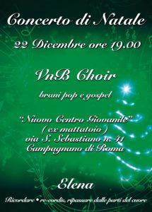 Locandina del concerto di Natale del VnB Choir di Campagnano di Roma