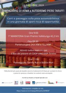 Locandina della maratona di Roma a Vallelunga 22 dicembre 2019