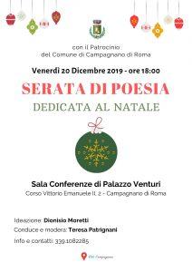 Locandina della serata di poesie di Natale del 20 dicembre 2019 a Campagnano di Roma