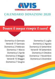 Calendaro donazioni 2020 presso AVIS Campagnano