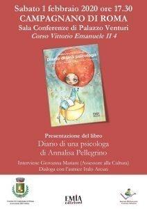 """Locandina della presentazione del libro """"Diario di una psicologa"""" di Annalisa Pellegrino a Campagnano di Roma"""