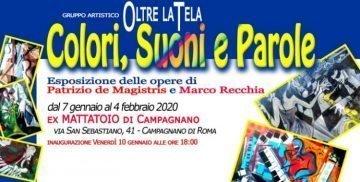 Locandina della mostra di pittura Colori, Suoni, Parole dal 7 gennaio 2020 a Campagnano di Roma