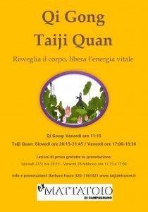 Locandina del corso di Qi Gong e Taiji Quan di Barbara Fusco all'Ex Mattatoio di Campagnano di Roma