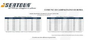 Orari navetta Seatour Campagnano-Cesano in vigore da giugno 2020