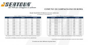 Orari navetta Campagnano-Cesano validi dal 14 settembre 2020
