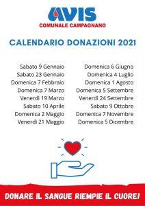 Calendario 2021 delle giornate di donazione sangue presso AVIS Campagnano