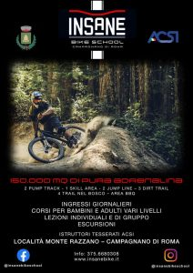 locandina inaugurazione Insane Bike Park, scuola di Mountain Bike a Campagnano di Roma